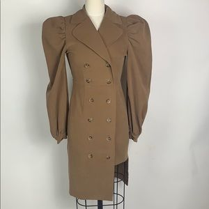 Camel double breasted trench coat with puff sleeve